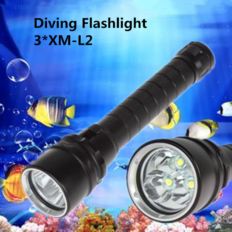 Professional IP68 Diving Flashlight 3*CREE XM-L2 LED 3800LM Waterproof Torch for Camping Underwater Diver Lighting led flashlight 3800 lumens cree xm l2x3 waterproof flashlight torch for night diving camping hunting fishing zk93