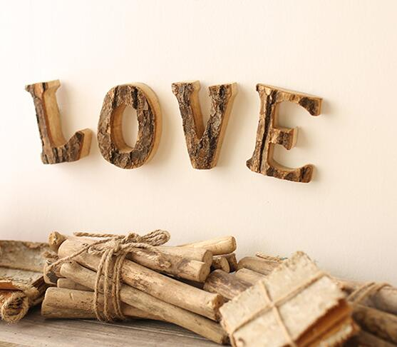 creative home decoration wood craft antique imitation wooden letters
