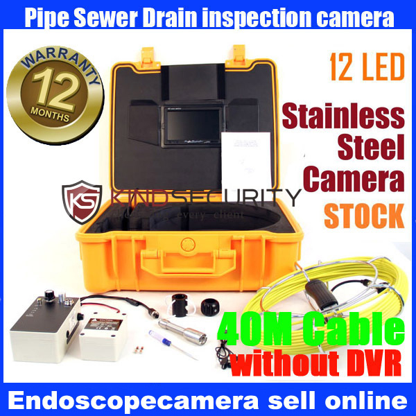 40M 7 Monitor Sewer Pipe Video Drain Pipe Cleaner Snake Inspection Camera System electric power sewer snake machine auger cable drain clog cleaner snake pipe sewer 32 100mm tub ce approval
