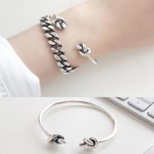 925 sterling silver bangles women Double Knot Bracelets Vintage Simplicity Cuff Open Bangles