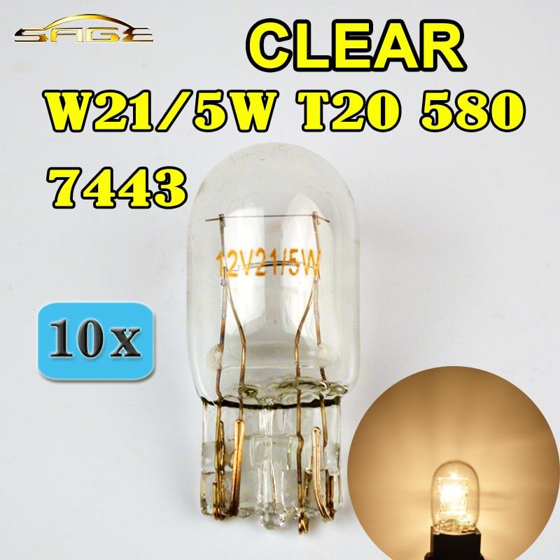 flytop (10 Pieces/Lot) 580 7443 W21/5W T20 Clear Glass 12V 21/5W W3x16q Double Filament Car Bulb