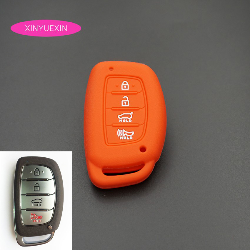 Xinyuexin For Hyundai TUCSON I40 IX35 I45 ELANTRA Rayna SONATA Silicone Car Key Cover FOB Case 4 Buttons Smart Key Car Styling