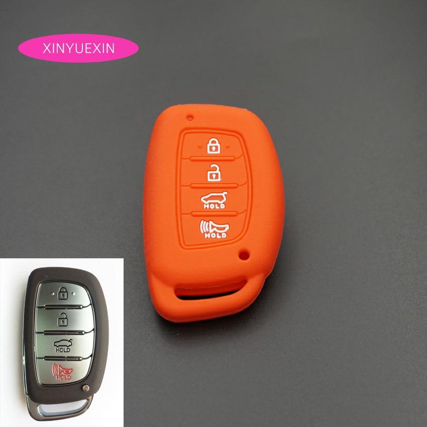 Xinyuexin For Hyundai TUCSON I40 IX35 I45 ELANTRA Rayna SONATA Silicone Car Key Cover FOB Case 4 Buttons Smart Key Car Styling