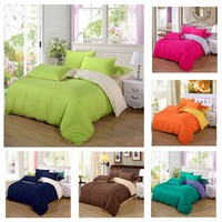 New Solid White Comforter Bedding Sets King Queen Twin Size For Girls Boys Home Bed Linen