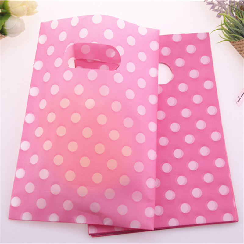 New Design Hot Sale Wholesale 100pcs/lot 13*18cm Pink Plastic Packaging Bags With Dot Favor Wedding Gifts Package