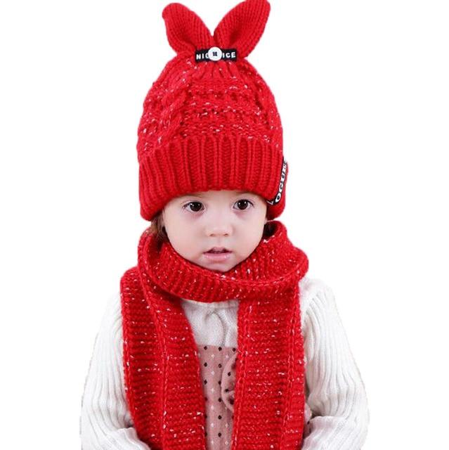 e699ded59aa8b Unisexe Enfant Bonnets Cap Set Bébé Enfants Épais Câble En Tricot lapin  Oreille Chapeau et Écharpe