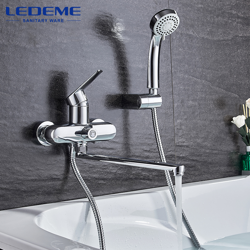 LEDEME Bathroom Shower Faucet Set Mixer Tap With Hand Sprayer Wall Mounted Rainfall Bath Shower Sets Single Handle L2240 gappo classic chrome bathroom shower faucet bath faucet mixer tap with hand shower head set wall mounted g3260