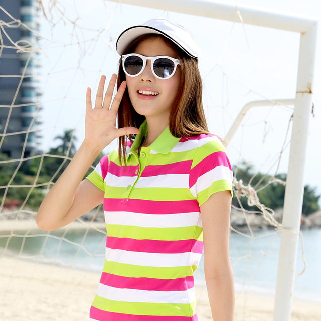 2017 Cotton Pus Size Original New Spring And Summer 2017 New women's Polo Cotton Stitching Slim Stripe Shirt Girl