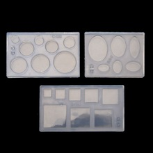 Molds Ellipse-Mold Diy-Accessory Geometric Square Round Uv Resin Hollow with W77