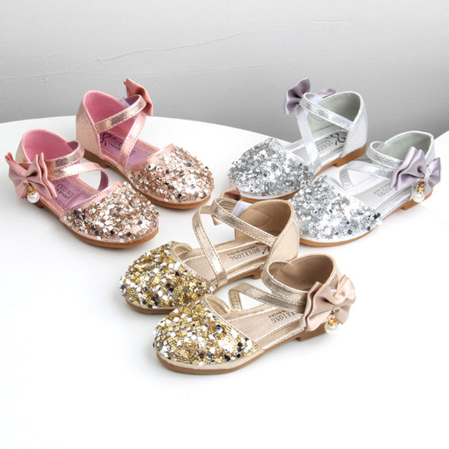 65ceb50969ca2 Girls Shoes Bling Party Shoes For Kids Children Bow knot Flats Pink Gold  Silver Bead Single Shoe Glitter Sandals Summer MCH065