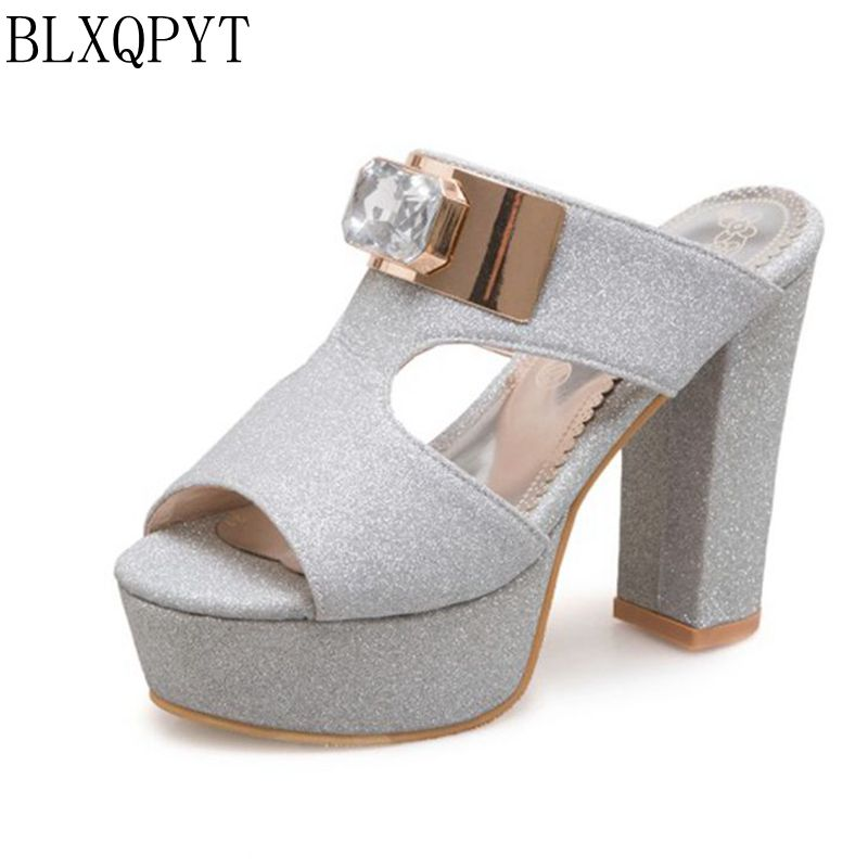 BLXQPYT New Big size 34-50 women Summer Slippers Style Sandals Fashion Sexy Super High Heels Party Wedding Shoes Woman 3358 2017 han edition of the new fashion women s shoes big yards high heels crystal cool slippers 15cm