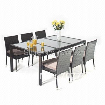 2017 muebles de jardín de mimbre 6 plazas juegos de comedor mesa y ...