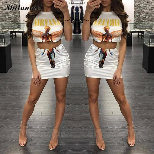 Summer 2 Piece Set Women Skirt Top Tumblr Nirvana Print Cropped T