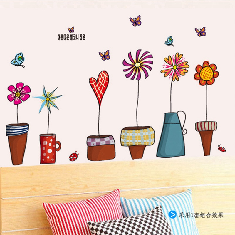 Zs Sticker calcomanías de escalera pot flowers pegatinas de pared para habitaciones de niños flowers pot stickers para niños niñas dormitorio decoración de la pared