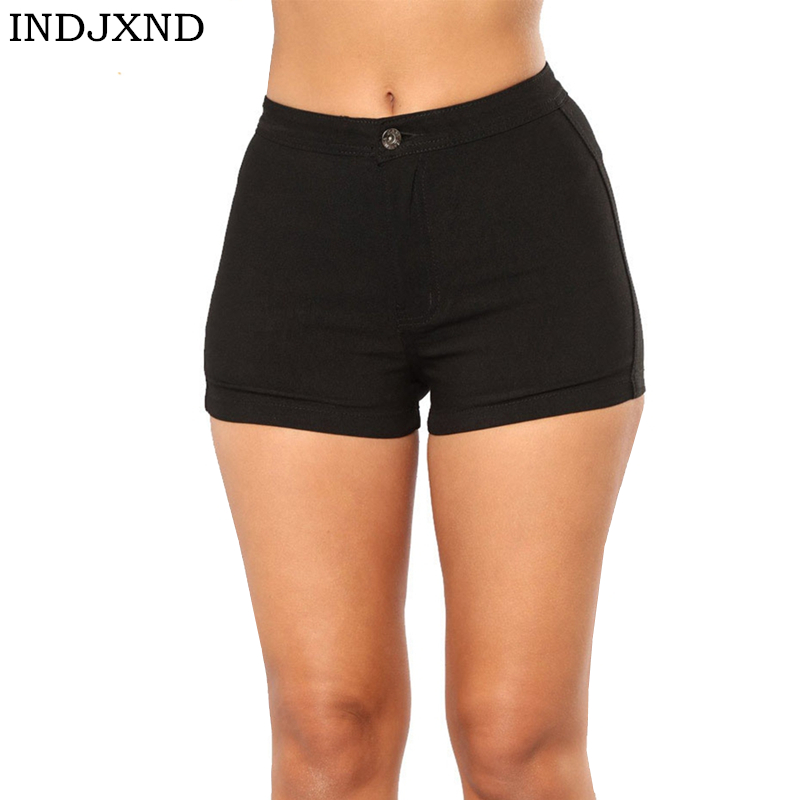INDJXND 2019 Summer New Casual Candy Color Ladies Double Pocket Denim   Shorts   Women Pencil Cute Womens   Shorts   Plus Size 18 Colors