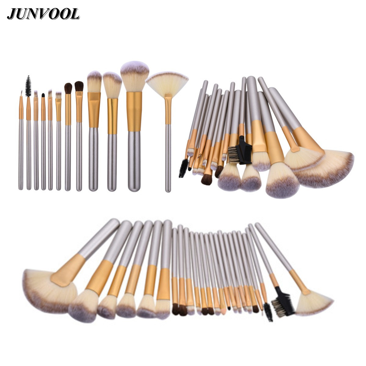 Fan Makeup Brushes Champagne Gold Classic Soft Synthetic Professional Cosmetic Make Up Foundation Powder Blush Eyeliner Brush 12 18 24pcs make up brush set soft synthetic professional cosmetic makeup foundation powder blush eyeliner brushes kit