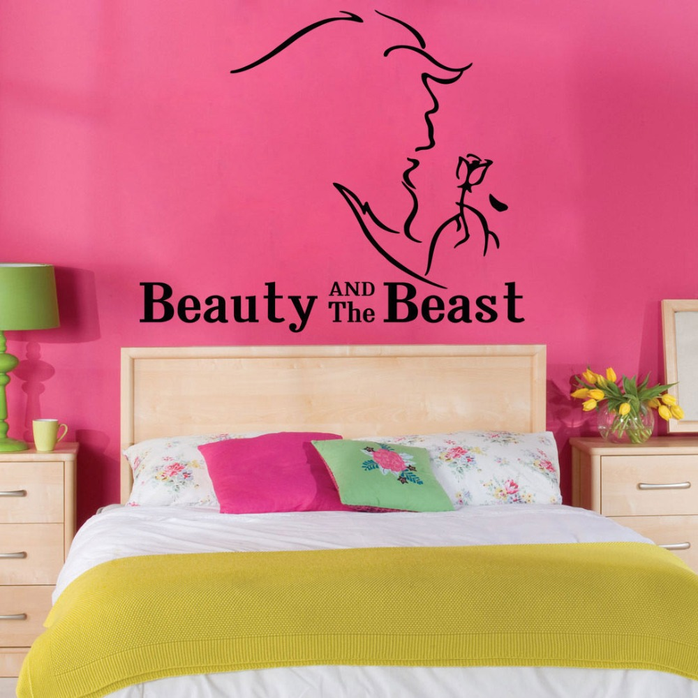 Beauty and the Beast Vinyl Wall Decal Bella Princess Baby Kids Girls Home Bedroom Living Room Window Sticker Decoration WW-118