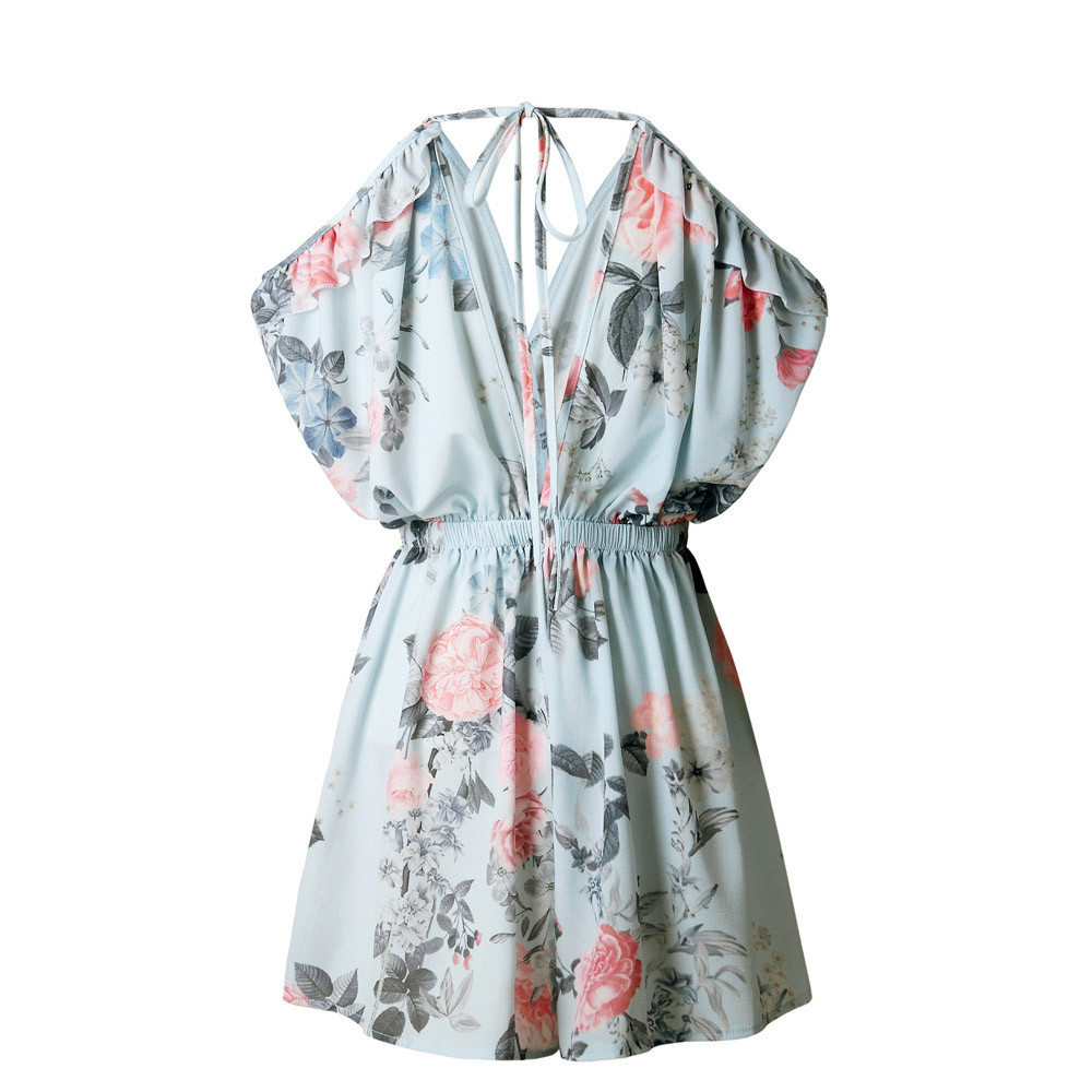 0dbdffeb338 Bohemian Loose Strap Playsuit Print Big Pink Flower Floral Ruffles Short  Pant Jumpsuit Rompers Women Overalls Bodysuit Coveralls-in Rompers from  Women s ...
