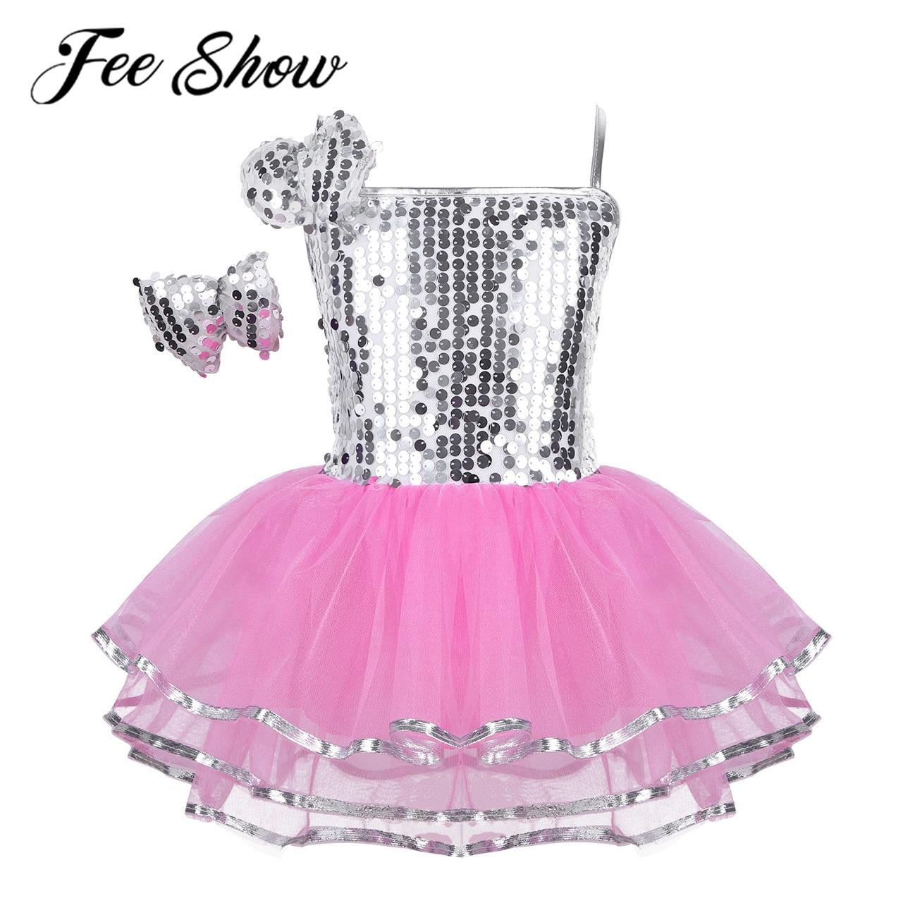 Kids Girls Modern Jazz Hip Hop Ballet Dance Tutu Dress Shiny Glitter Skirt Sequin Mesh Dancewear Contemporary Stage Show Costume
