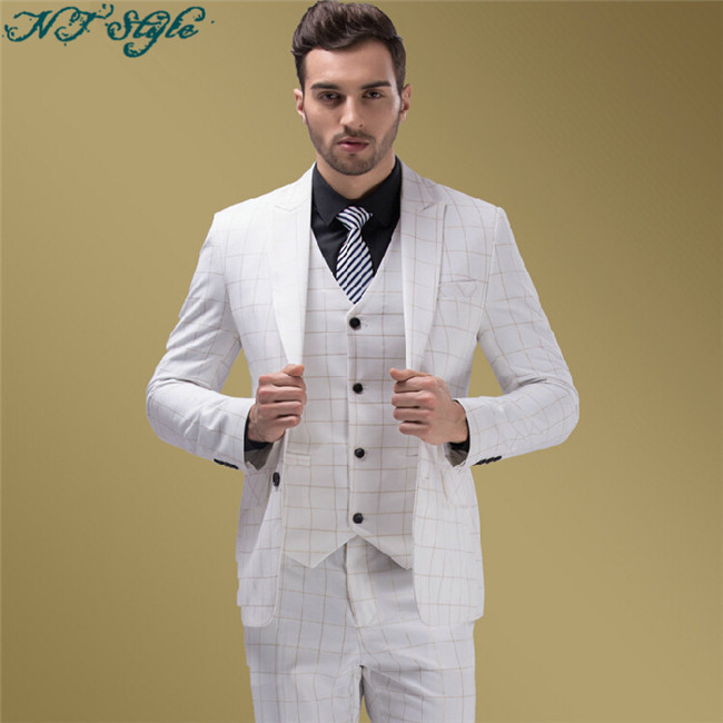 3 Pieces Coat Pant Vest Cheap Made In China Real Sample White ...
