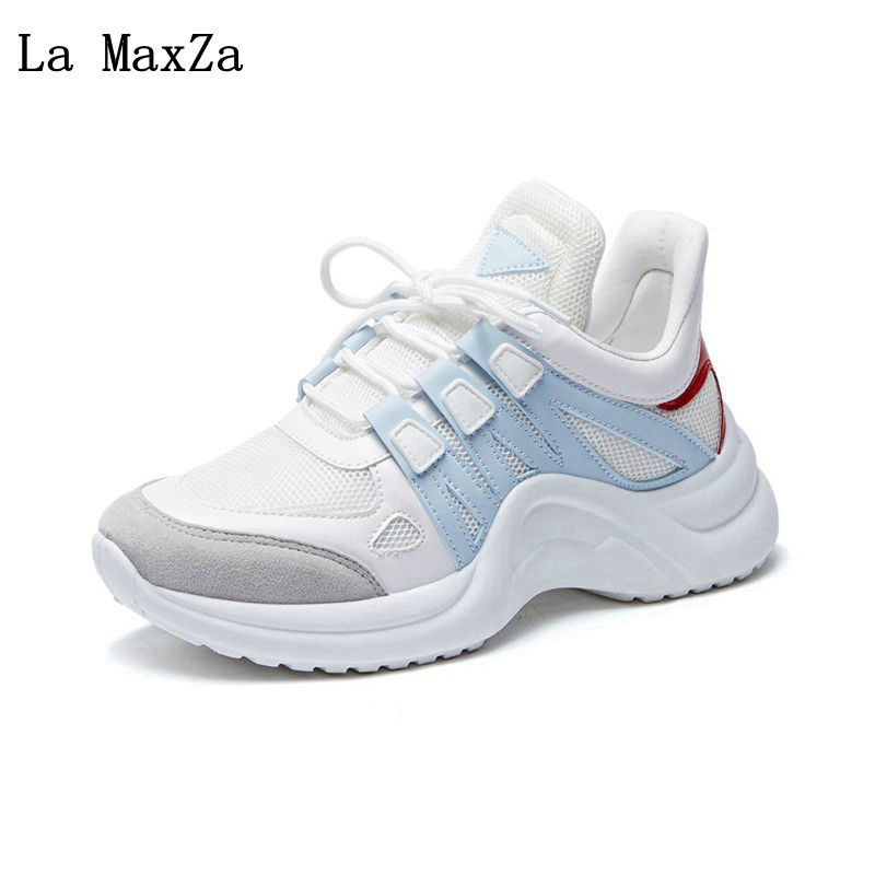 2018 New Arrival Woman Casual Shoes Spring Summer Female Fashion Breathable Mesh Lace Up Shoes Ladies Sneakers Vulcanized Shoes