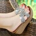 2017 Bling Summer Bohemian Sandals Heavy-Bottomed Rattan Wedged Platform Designer Shoes Women Flip Flops Chaussures Pour Femmes