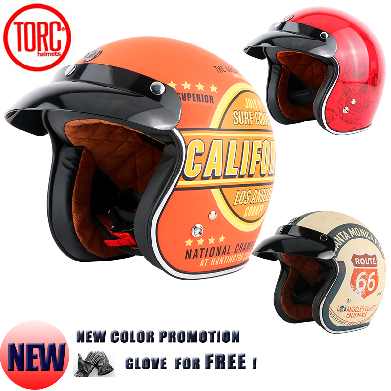 Free Shipping TORC HELMET Moto Casco Capacete 3 4 Open Face Vintage Motorcycle Helmet Jet Open