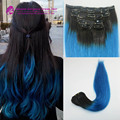 Clip In Human Hair Extensions, Ombre Blue Brazilian Hair Extension Aliexpress uk Brazilian Virgin Hair Clips in 1b/blue hair