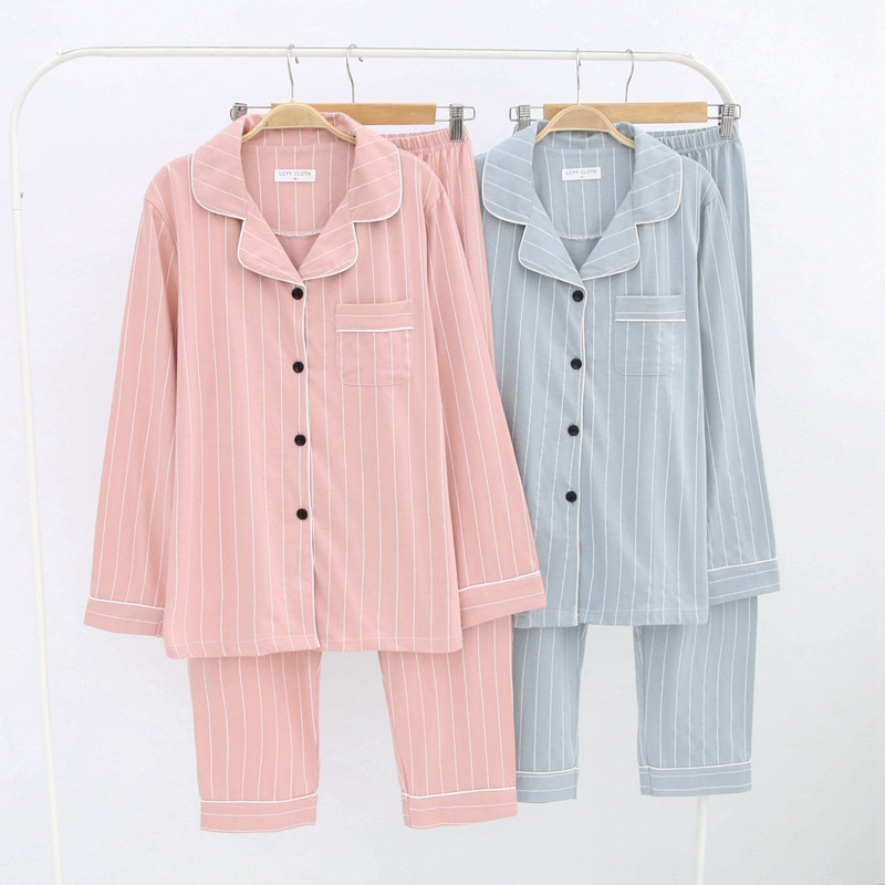 Women's Sleep Lounge   Pajamas     Sets   Striped Cotton Yukata Bathrobe Loose Top and Pants Girl Nightgown Sleepwear Homewear Pyjamas