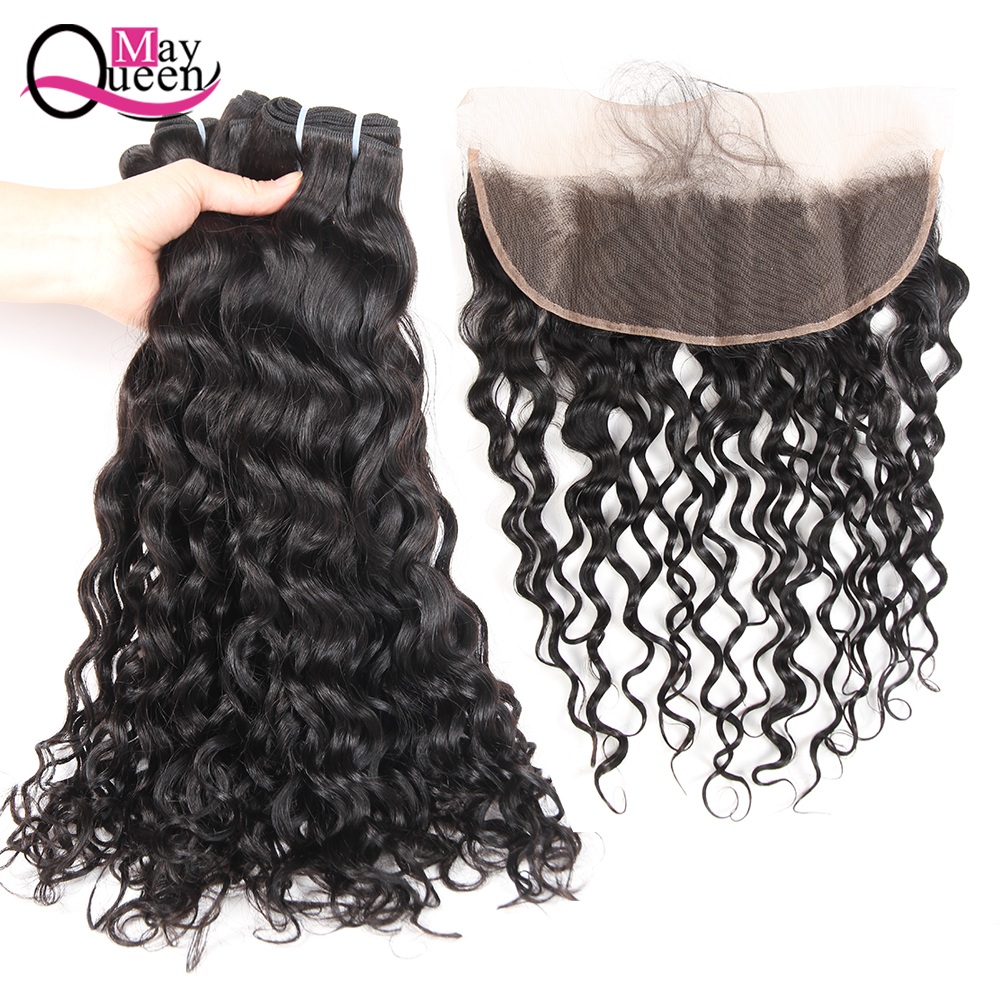 May Queen Peruvian Water Wave Bundles With Frontal Closure Remy Human Hair Bundles With Closure Black Color 3 Pcs With Frontal ...