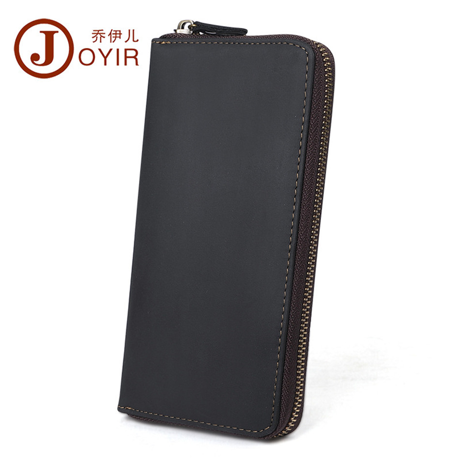 JOYIR famous brand men wallets genuine leather Long Zipper male Business contacts Card holder Coin Men's purse 2017 new 2016 new 100% genuine real python skin leather long size men wallets and purse beige black color zipper coin pocket card holder