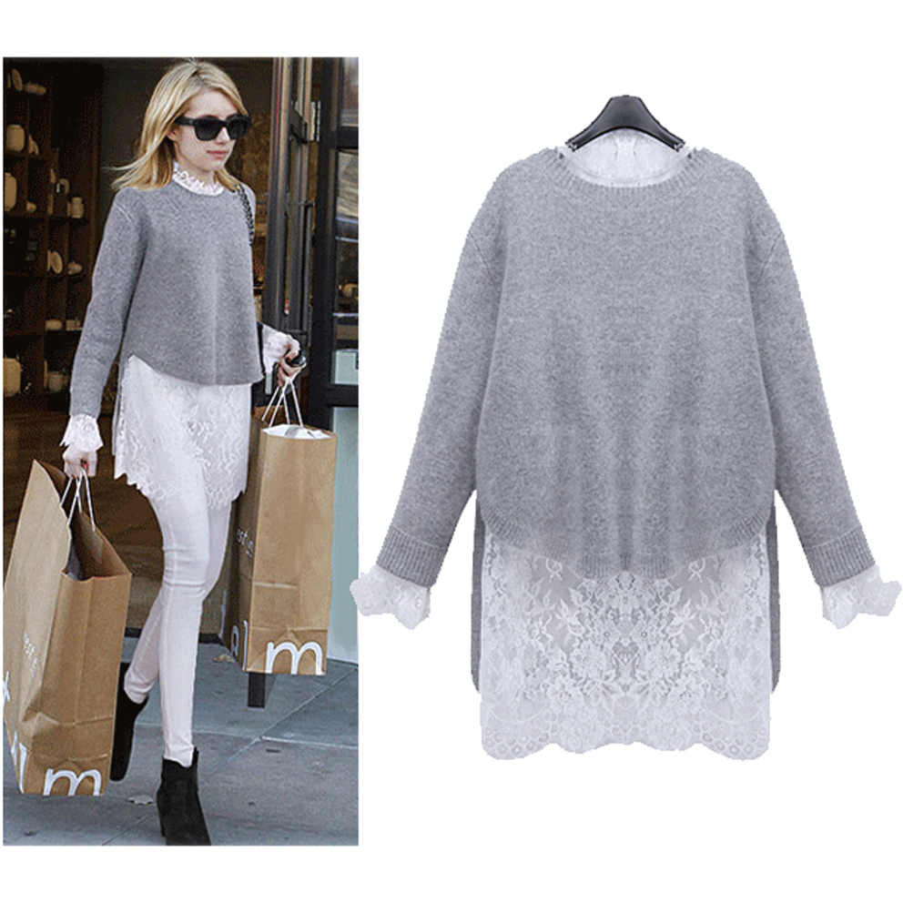 QA! 2016 Spring Autumn Women New knitted Light Grey Mink Cashmere ...