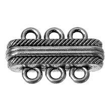 """DoreenBeads магнитные застежки фурнитура для ювелирных изделий ожерелье браслет античная серебряная полоса резные 27 мм(1 1/"""") x 17 мм(5/8""""), 2 шт"""