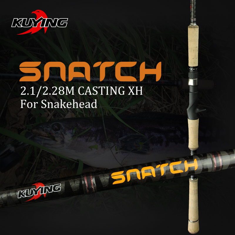 KUYING SNATCH 2.1m 2.28m Super Hard XH Carbon Casting Lure Fishing Rod Pole 2 Sections Fish Stick Fast 185g Weight For Snakehead super hard strong 2 1 2 4 2 7 3 0 3 6m power xh carbon telescopic fishing rod
