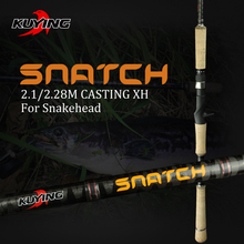 KUYING SNATCH 2.1m 2.28m Tremendous Arduous XH Carbon Casting Lure Fishing Rod Pole 2 Sections Fish Stick Quick 185g Weight For Snakehead