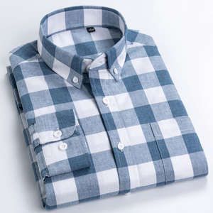 Image 2 - England Style Plaid Checkered Cotton Shirts Single Patch Pocket Long Sleeve Standard fit Button down Mens Casual Striped Shirt