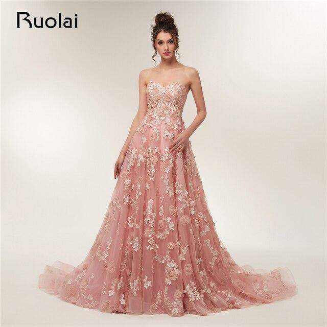 Vintage Evening Dresses Long 2019 Sweetheart Tulle Applique Flower Pearls Prom Party Gown Long train Vestido de Fiesta RE5