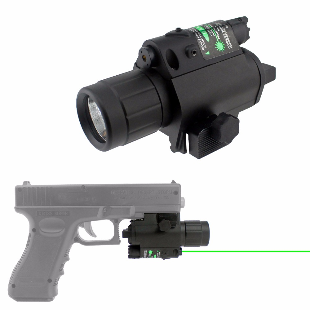 Tactical Green Laser or Red Laser Sight with 200 Lumen Flashlight Combo fits 20mm Standard Rail Upgraded Aluminum Construction