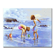 Frame Wedding Decoration Wall Art Popular Picture Sea Beach Child DIY Oil Painting By Numbers Acrylic On Canvas Kits Drawing