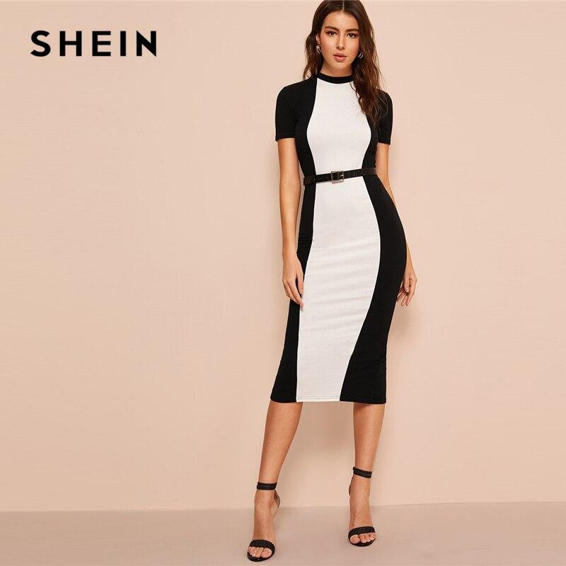 SHEIN черно-белое цветное облегающее платье с юбкой-карандаш миди платье без пояса женское стоячий воротник выходные повседневные длинное об...