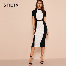 e7d748867100a SHEIN Siyah ve Beyaz Colorblock Bodycon Kalem Midi Elbise Kemer Olmadan Kadın  Standı Yaka Haftasonu Rahat Uzun Kılıf Elbise