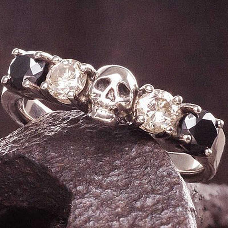 Gothic Banyak Tengkorak Pria Cincin Vintage Biker Hitam Punk Stainless Steel Perhiasan untuk Wanita Beaded Naga Toe Ring O5N979