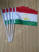 KAFNIK,5pcs Tajikistan Banner free shipping Hand waving Flag National Flag 14*21 cm(China)