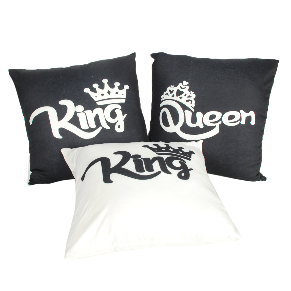 Sofa King Queen Us 3 65 11 Off King Queen Cushion Cover 45x45cm Pillow Case Double Side Print Sofa Throw Pillowcase Home Decor For Valentine S Day Couple Lover In