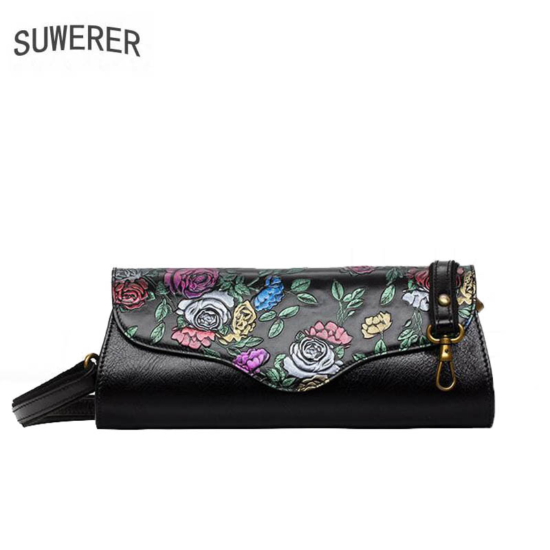 SUWERER2018 new high-quality fashion luxury brand handbag genuine leather shoulder bag counter genuine, female well-known brands