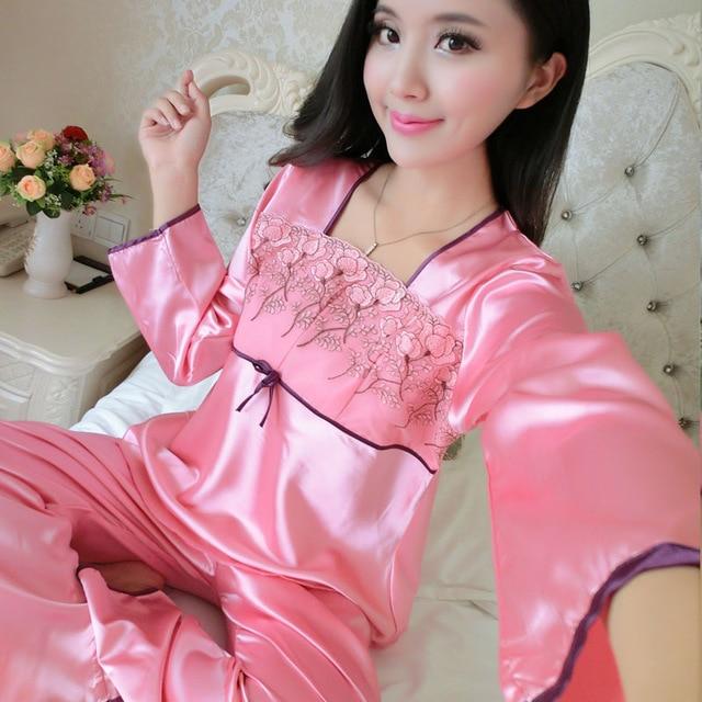 2017 Spring Autumn Women Elegant Red Pyjamas Two Piece Set Sexy Ladies  Satin Sleepcoat   Pants Sleepwear Silk Pajamas For Women 11cbfce53