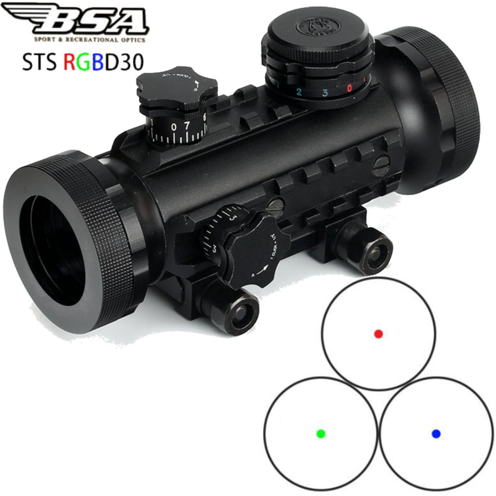 Tactical BSA STS RGBD30 Stealth Hunting Illuminated 1X30 Red Green Blue Dot Sight Scope with Tri Rail Weaver Picatinny Mount