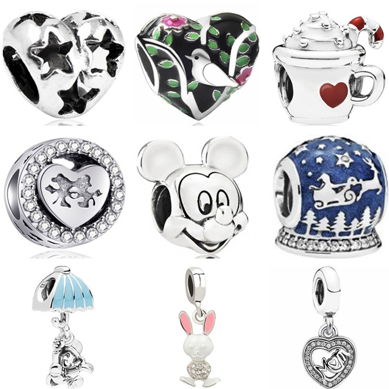 Mickey Bead Charms Jewelry Snowman Planet Fit Pandora Star Rabbit Car-Heart Simple-Style
