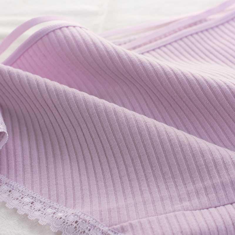 Women's Cotton Panties Female Striped Breathable Briefs Sexy Lace Decoration Underwear Women Plus Size L XL XXL Lingerie Intimates  (12)
