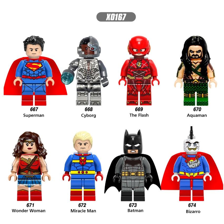 Single Sale Super Heroes Superman Wonder Woman Aquaman Cyborg Batman Bricks Action Building Blocks Best Children Gift Toys